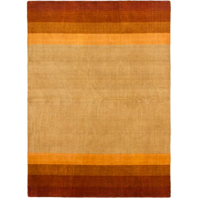 Luribaft Gabbeh Riz Hand-Knotted Dark Copper/Yellow Area Rug