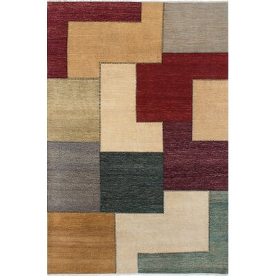 One-of-a-Kind Eternity Gabbeh Hand-Knotted Cream/Red Area Rug