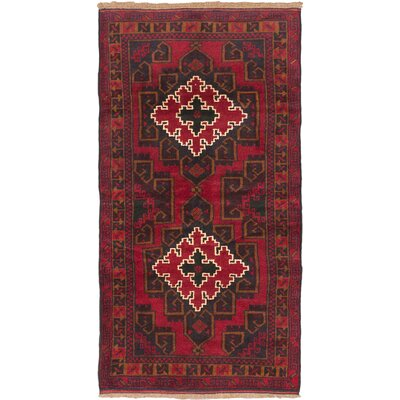 One-of-a-Kind Kazak Hand-Knotted Dark Burgundy Area Rug