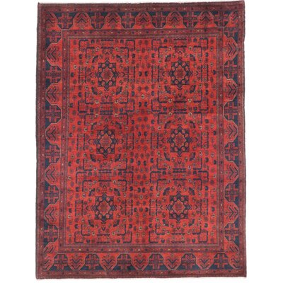 Rosales Hand-Knotted Rectangle Dark Burgundy Indoor Area Rug
