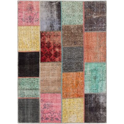 Hand-Knotted Black/Dark Orange Area Rug
