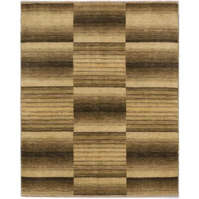 Luribaft Gabbeh Riz Hand-Knotted Beige/Olive Area Rug
