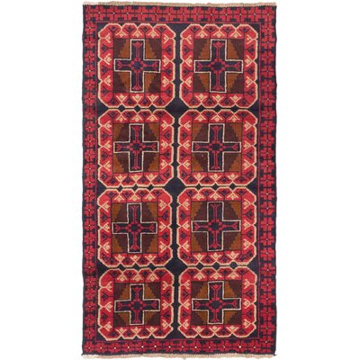 One-of-a-Kind Bahor Hand-Knotted Dark Burgundy Area Rug