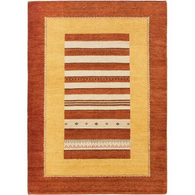 Kashkuli Gabbeh Hand-Knotted Copper/Light Gold Area Rug