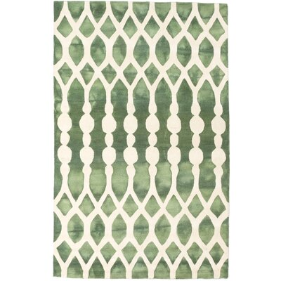 Dip Dyed Hand-Tufted Cream/Dark Green Area Rug