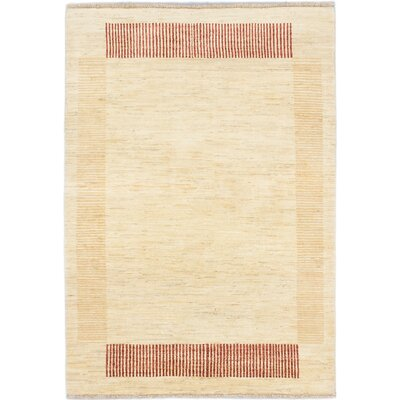 One-of-a-Kind Peshawar Ziegler Hand-Knotted Ivory/Light Yellow Area Rug