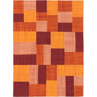 Mosaico Hand-Woven Red/Orange Area Rug