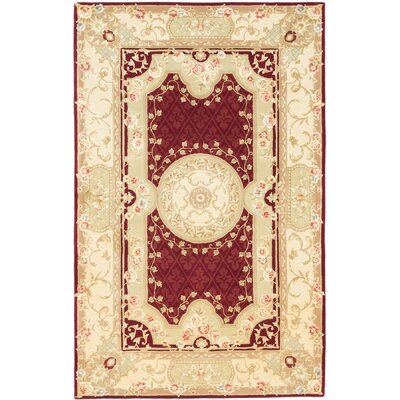 Savonnerie Hand-Tufted Dark Red Area�Rug