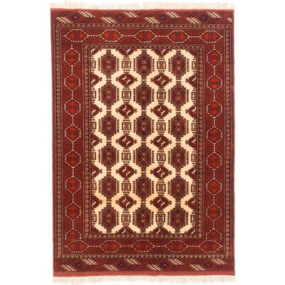 One-of-a-Kind Shiravan Bokhara Hand-Knotted Cream/Dark Orange Area Rug