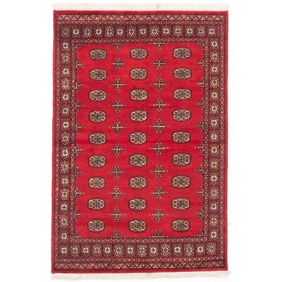 Olney Springs Hand-Knotted Rectangle Dark Burgundy Area Rug