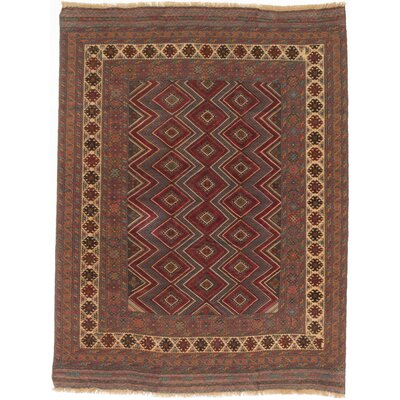 One-of-a-Kind Tajik Tribal Hand-Knotted Dark Gray/Light Red Area Rug