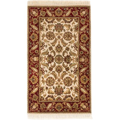 Sultanabad Hand-Knotted Cream/Dark Red Area Rug