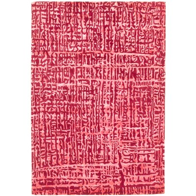 One-of-a-Kind Cosmopolitan Handmade Wool Dark Red/Pink Area Rug
