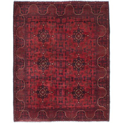 Rosales Hand-Knotted Dark Burgundy/Dark Red Area Rug