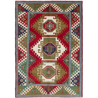Royal Kazak Hand-Knotted Cream/Red Area Rug