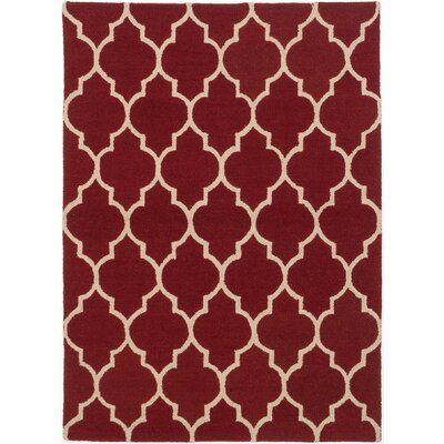 Trellis Hand-Tufted Dark Red Area Rug