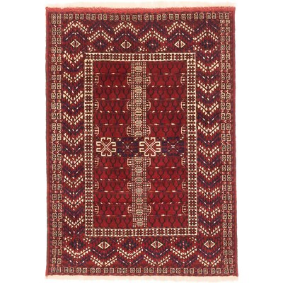 One-of-a-Kind Shiravan Bokhara Hand-Knotted Dark Red Area Rug