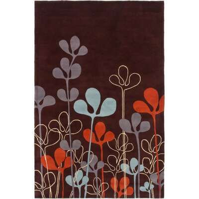 Brendle Handmade Wool Dark Burgundy Area Rug