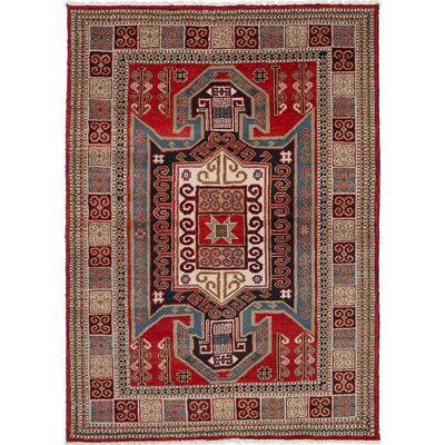 Royal Kazak Hand-Knotted Dark Burgundy Area Rug