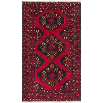 One-of-a-Kind Mcdorman Hand-Knotted Black/Dark Burgundy Area Rug