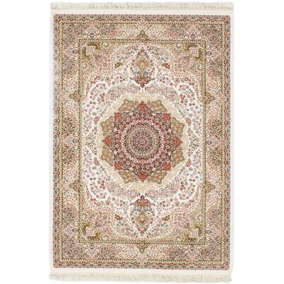 King David 400 Lines Hand-Woven White/Khaki Area Rug Rug Size: Rectangle 3 x 8