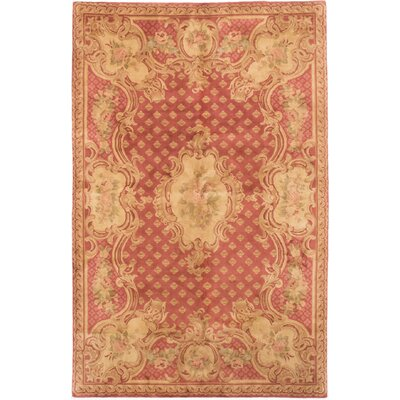 One-of-a-Kind Savonnerie Hand-Knotted Dark Pink Area Rug