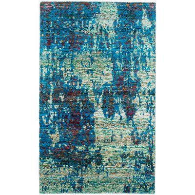 One-of-a-Kind Sari Hand-Knotted Blue Area Rug