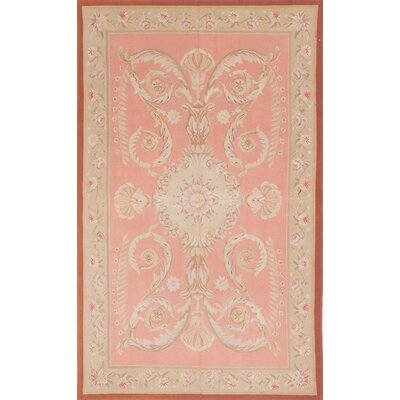 French Tapestry Hand-Knotted Light Coral Area Rug