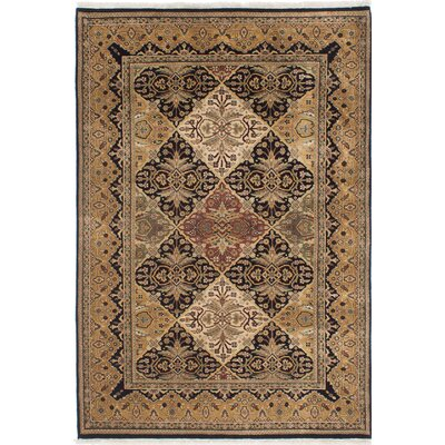 Jamshidpour Hand-Knotted Black/Light Brown Area Rug