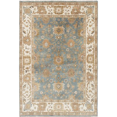 One-of-a-Kind Royal Ushak Hand-Knotted Light Cream/Slate Blue Area Rug