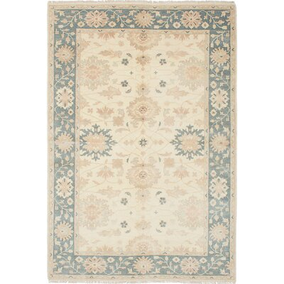 One-of-a-Kind Li Hand-Knotted Cream/Light Denim Blue Area Rug