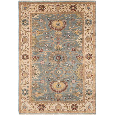 Bassford Rectangle Hand-Knotted Slate Blue Area Rug