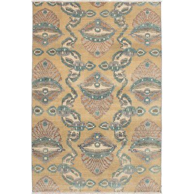 One-of-a-Kind Finest Ushak Hand-Knotted Khaki Area Rug