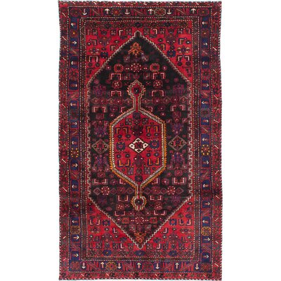 Bilbie Hand-Knotted Black/Red Area Rug
