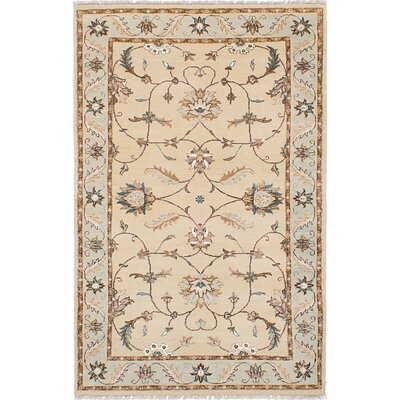 One-of-a-Kind Peshawar Oushak Hand-Knotted Beige Area Rug
