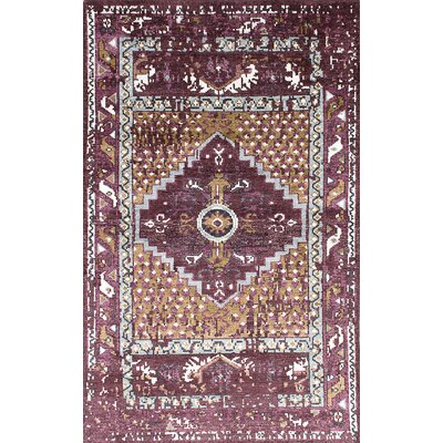 One-of-a-Kind Jules Ushak Hand-Knotted Purple/Beige Area Rug
