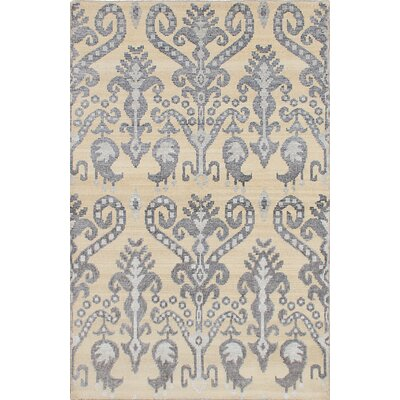 One-of-a-Kind Poplin Hand-Knotted Cream/Gray Area Rug