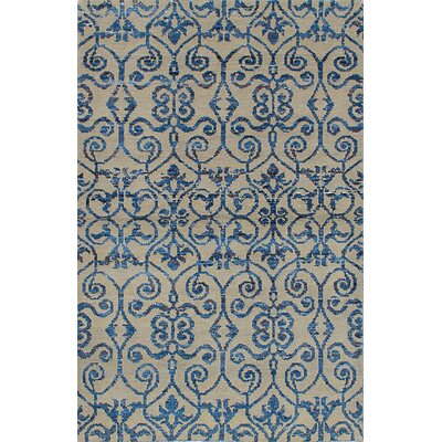 One-of-a-Kind Poplin Hand-Knotted Beige/Blue Area Rug