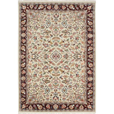 One-of-a-Kind Kashmir Hand-Knotted Cream/Peach Area Rug