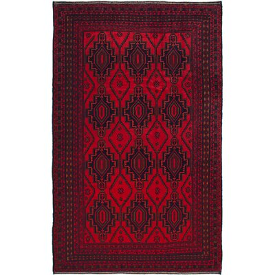Hand-Knotted Dark Burgundy/Red Area Rug
