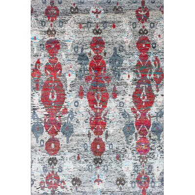 Hand-Knotted Gray/Red Area Rug