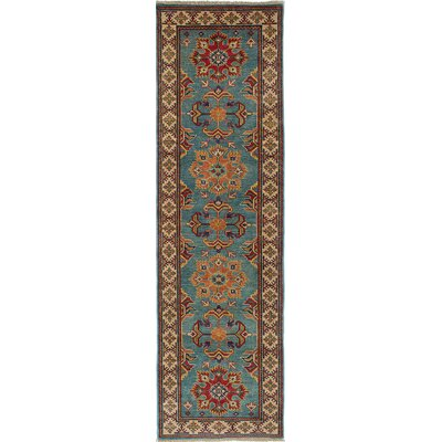 Gazni Hand-Knotted Turquoise/Beige Area Rug