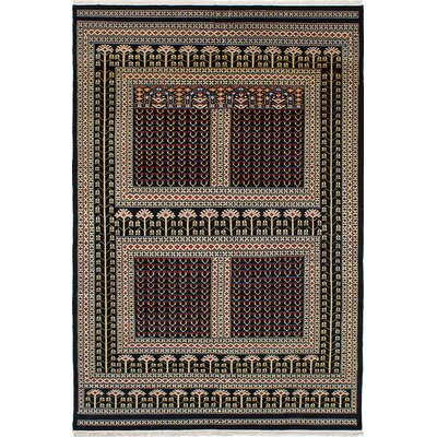 One-of-a-Kind Peshawar Hand-Knotted Black/Beige Area Rug