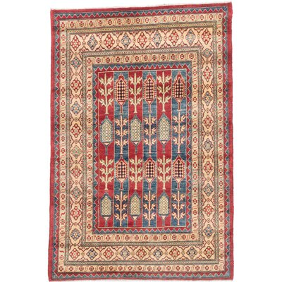 Bernard Hand-Knotted Rectangle Red/Beige Area Rug