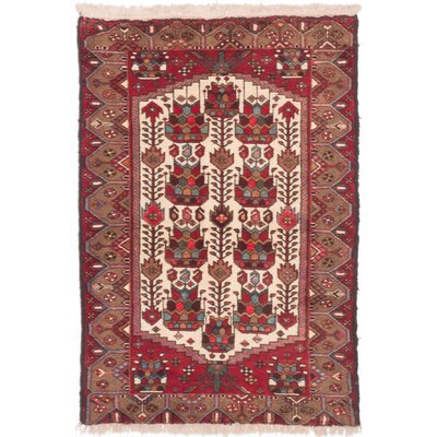 Koliai Hand-Knotted Red/Beige Area Rug