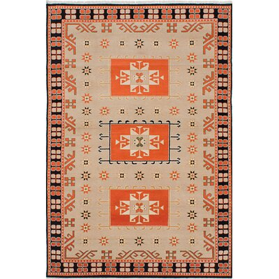 One-of-a-Kind Peshawar Ziegler Hand-Knotted Beige/Orange Area Rug