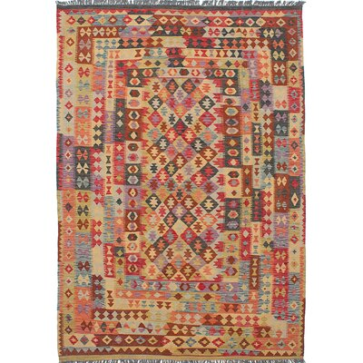 One-of-a-Kind Hereke Handmade Wool Red/Beige Area Rug