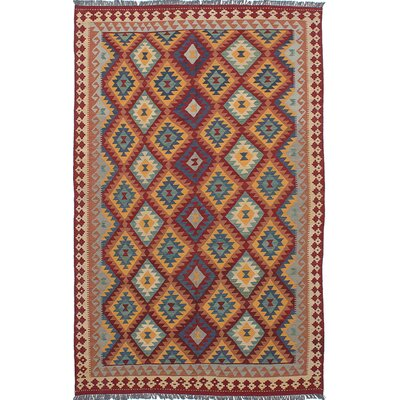One-of-a-Kind Anatolian Handmade Wool Red/Blue Area Rug