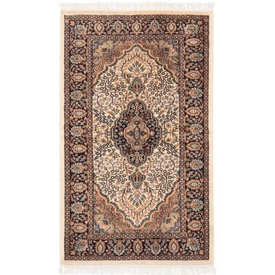 Kashmir Hand-Knotted Beige/Brown Area Rug