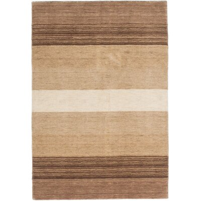 Luribaft Gabbeh Riz Hand-Knotted Beige/Brown Area Rug